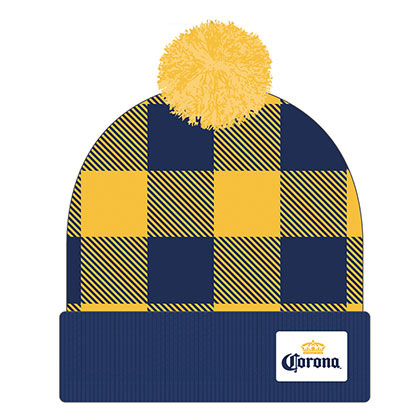 Corona Football Plaid Pom Hat Winter Beanie