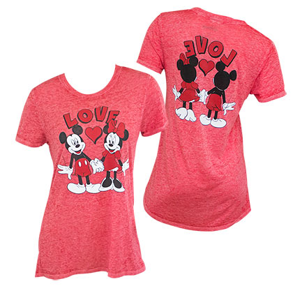Mickey And Minnie Mouse Love Front Back Women's Red TShirt