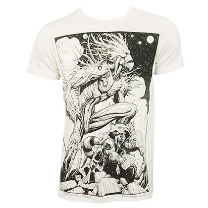 GUARDIANS OF THE GALAXY Groot Rocket Comic Art Men's Off-White T Shirt