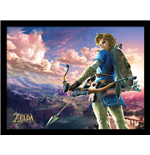The Legend of Zelda Framed Print - Breath Of The Wild - Hyrule Scene Landscape - 30X40 Cm