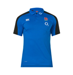 2018-2019 England Rugby Vapordri Performance Cotton Polo Shirt (Blue)