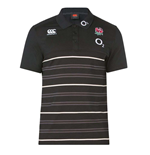 2018-2019 England Rugby Cotton Stripe Polo Shirt (Anthracite)
