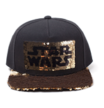 STAR WARS Star Wars Logo Sequins Snapback Baseball Cap, Black/Gold