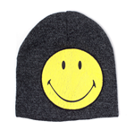 SMILEY Original Smiley Cracked Patch Cuffless Beanie, Grey