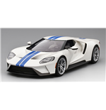 FORD GT FROZEN WHITE WITH LIGHTNING BLUE STRIPE TOP SPEED