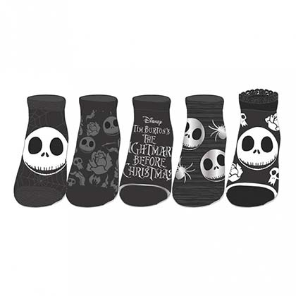 Nightmare Before Xmas Grey And Black 5-Pack Sock Set