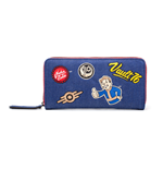 FALLOUT 76 Vault 76 Denim with Embroidered Patches Purse Around Zip Wallet, Female, One Size, Blue/Red