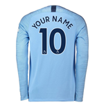 2018-2019 Man City Home Nike Long Sleeve Shirt (Your Name)