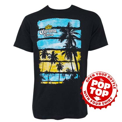 Corona Palm Trees Pop Top Bottle Opener Black Tee Shirt