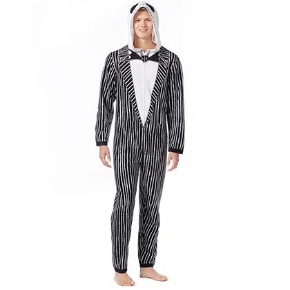 NIGHTMARE BEFORE CHRISTMAS Black And White Jack Skellington Union Suit