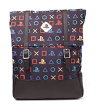 SONY Playstation All-over Fashion Pattern Print Top-loader Backpack with Dual Straps, Unisex, Black