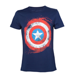 MARVEL COMICS Captain America Swirling Shield T-Shirt, Male, Extra Extra Large, Blue