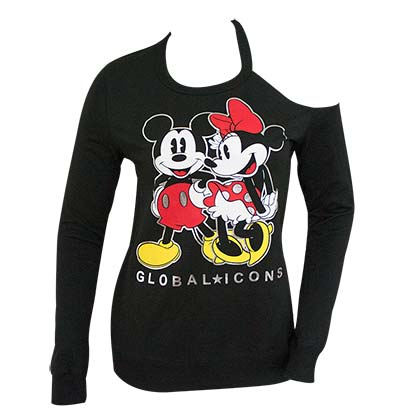 Mickey And Minnie Black Shoulder Cut Women's Sweatshirt
