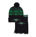 NINTENDO Legend of Zelda Royal Crest Beanie and Scarf Gift Set, Unisex, One Size, Green/Black