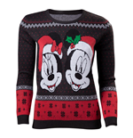 DISNEY Mickey Mouse Mickey & Minnie Christmas Knitted Sweater, Female, Extra Large, Dark Grey/Red