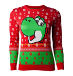 NINTENDO Super Mario Bros. Yoshi Christmas Knitted Sweater, Female, Small, Red/Green