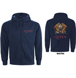 Queen Unisex Zipped Hoodie: Classic Crest (Back Print)