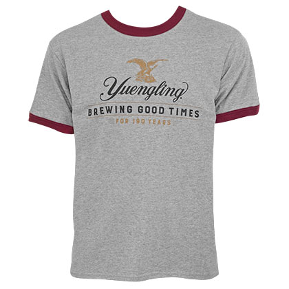 YUENGLING Men's Grey 190 Years Tee Shirt