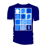 Doctor Who Men's Tee: Silhouette Grid All Blue