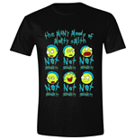 Rick And Morty: Many Moods Of Morty Black T-shirt (Unisex)