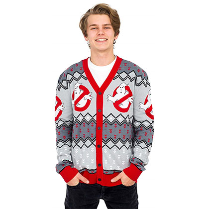 GHOSTBUSTERS Logo Ugly Christmas Cardigan Sweater