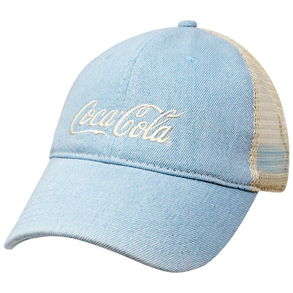 COCA-COLA Baby Blue Distressed Trucker Hat
