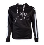 HELLO KITTY Side Buttons Hoodie, Female, Black