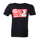 FAMILY GUY Beware of Dog T-Shirt, Male, Medium, Black
