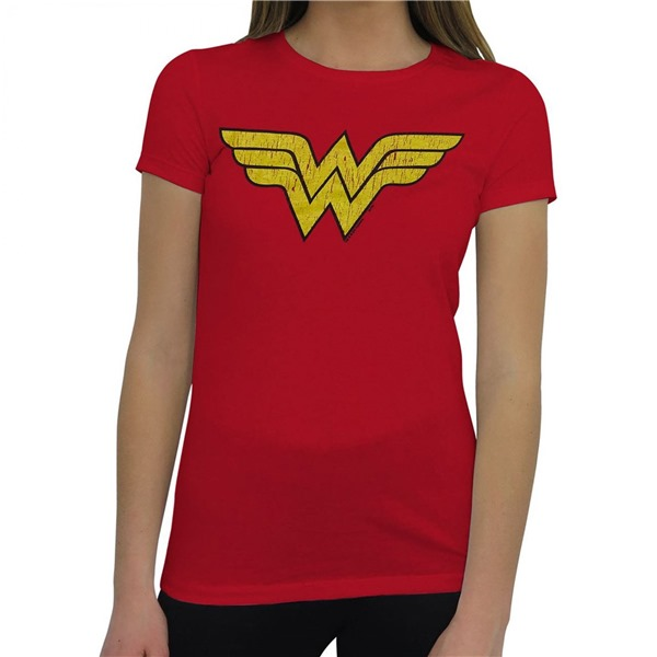 Wonder Woman Distressed Symbol T-Shirt for Women