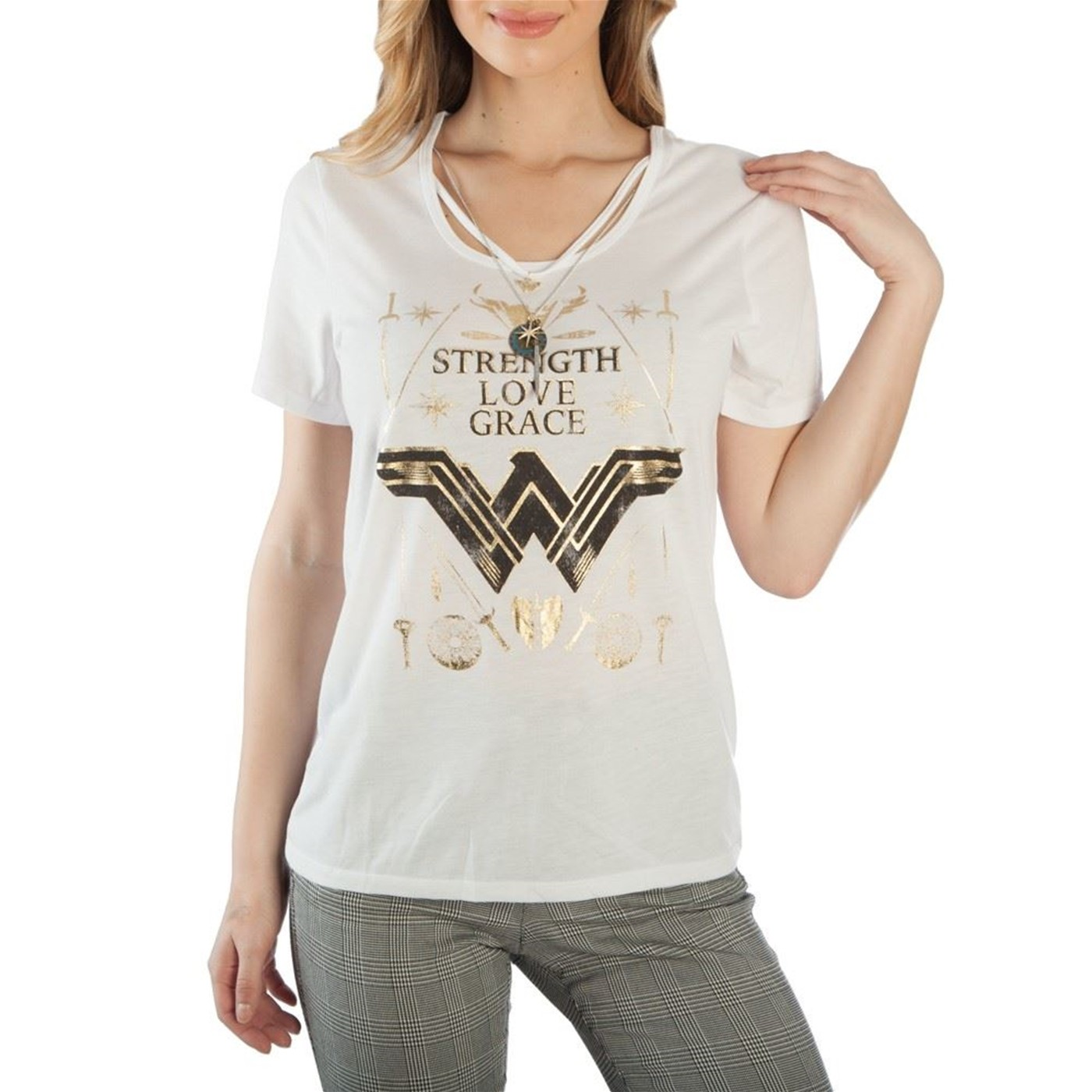 Wonder Woman Gold Foil With Neck Charm Women's T-Shirt