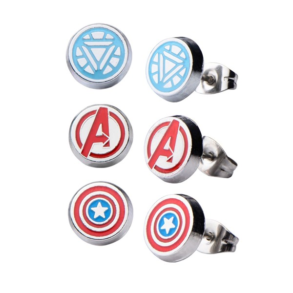 Avengers Captain America and Iron Man Stud Earring 3-pack