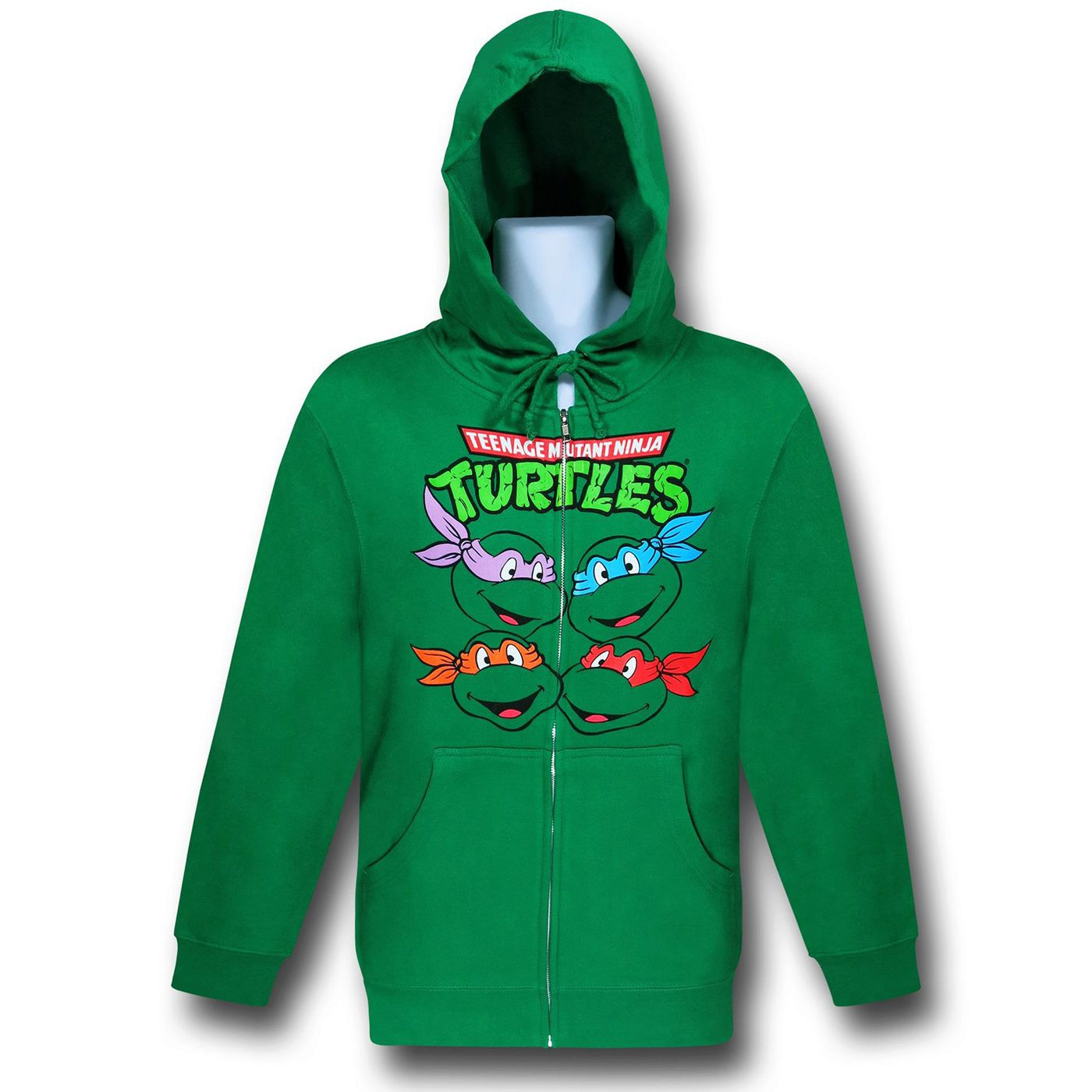 TMNT Turtle Faces Zip-Up Green Hoodie