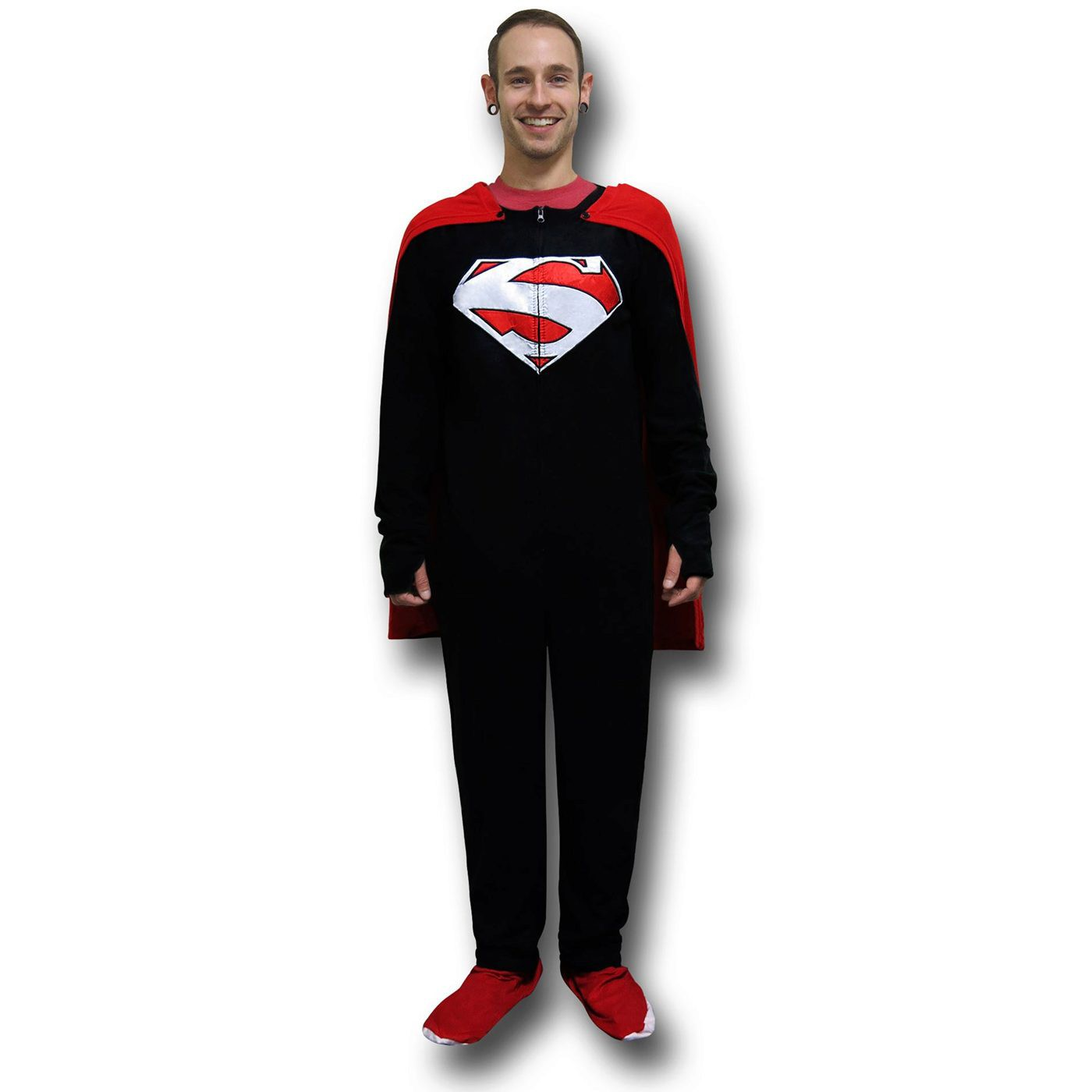 Superman Black Union Suit Pajamas w/Red Cape