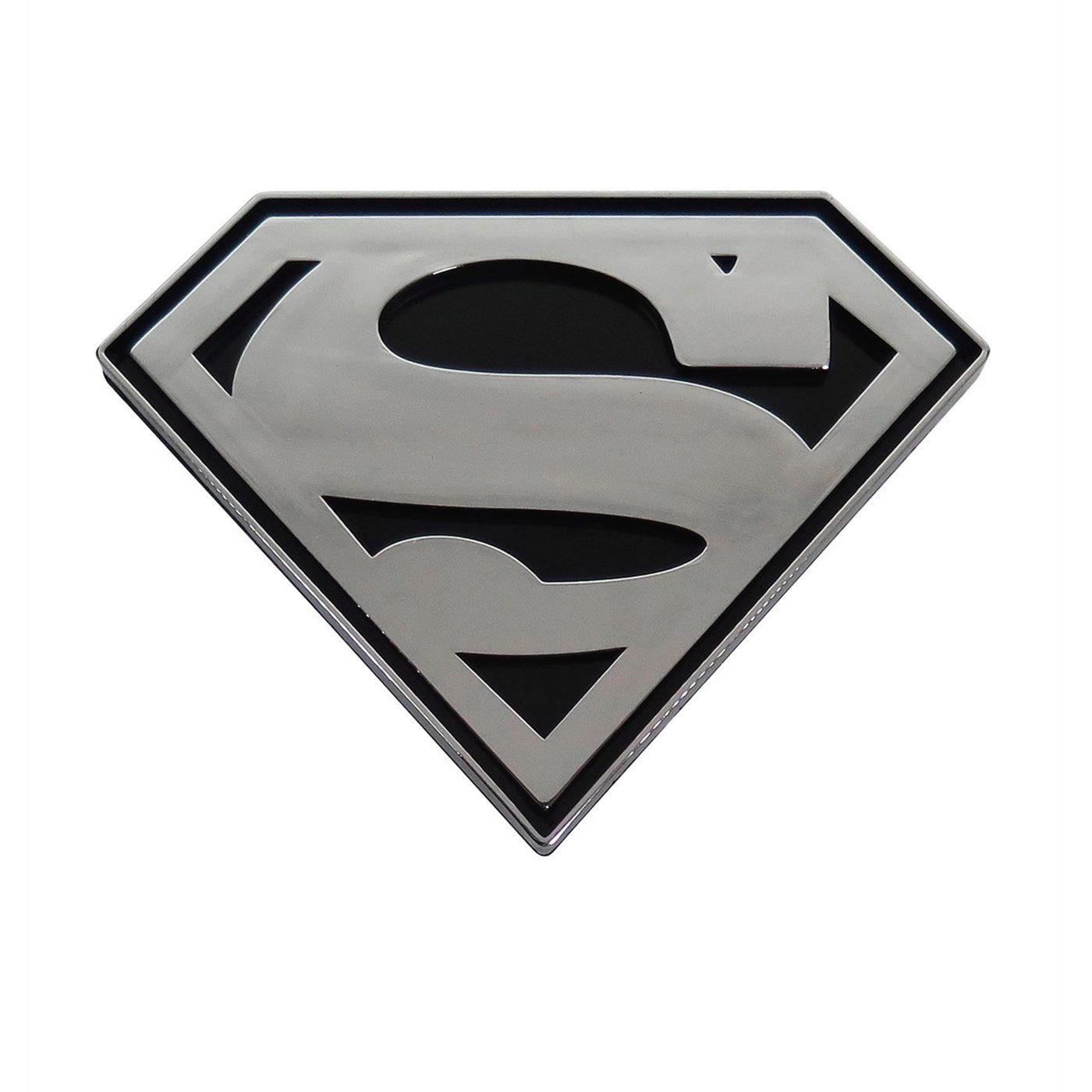 Superman Chrome and Black Symbol Car Emblem