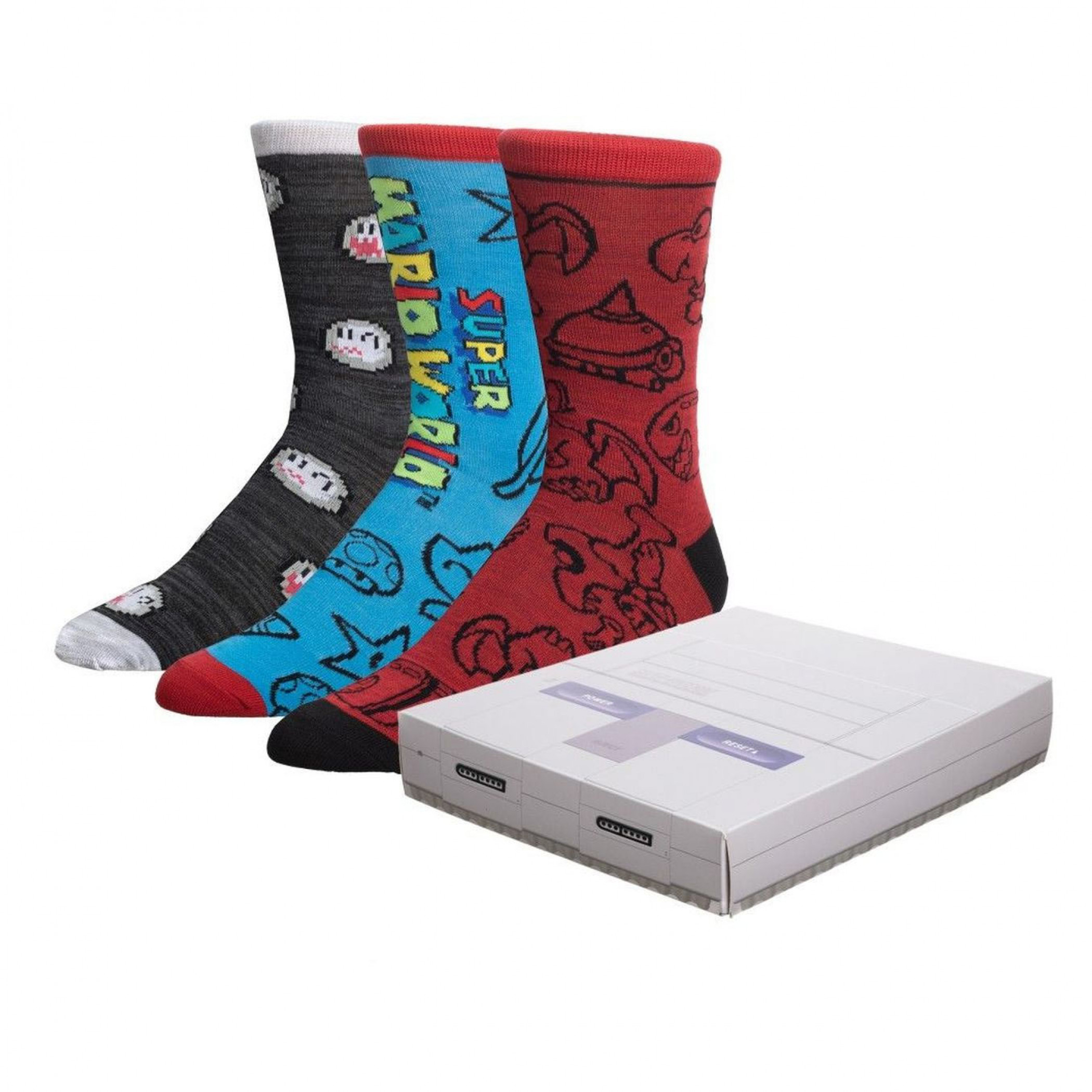 Super Nintendo Super Mario Crew Socks 3 Pack Box Set