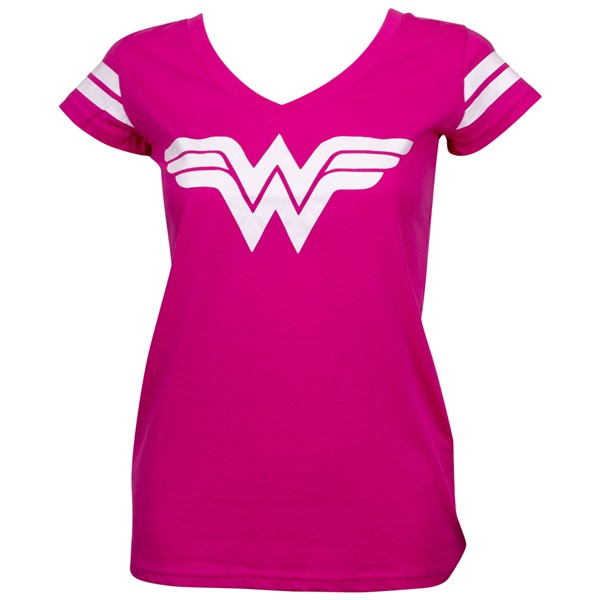 Wonder Woman Logo Hot Pink V-Neck T-Shirt with Sleeve Stripes