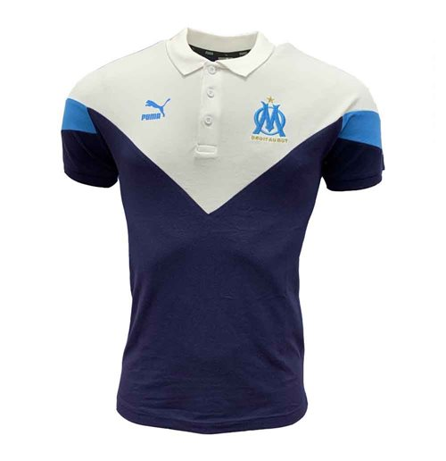 2019-2020 Marseille Puma Iconic MCS Polo Shirt (Peacot)