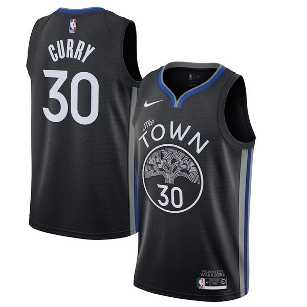 Men's Golden State Warriors Stephen Curry Nike Black City Edition Swingman Jersey
