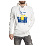 Corona Extra Washed Label White Hooded Sweatshirt