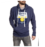 Corona Extra Washed Label Heather Blue Hooded Sweatshirt