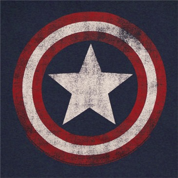 CAPTAIN AMERICA Distressed Shield Logo Dark Blue Graphic TShirt