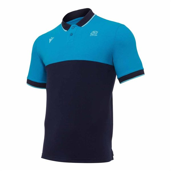 2020-2021 Scotland Leisure Stripe Polycotton Polo Shirt (Teal)