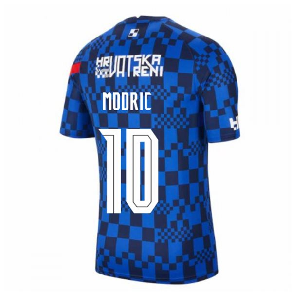 2020-2021 Croatia Nike Pre-Match Training Shirt (Blue) (MODRIC 10)