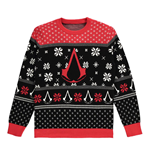 ASSASSIN'S CREED Logo Crest with All-Over Xmas Design Knitted Christmas Jumper, Male, Medium, Multi-colour