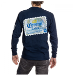 Corona Extra Stamp Back Long Sleeve Print T-Shirt
