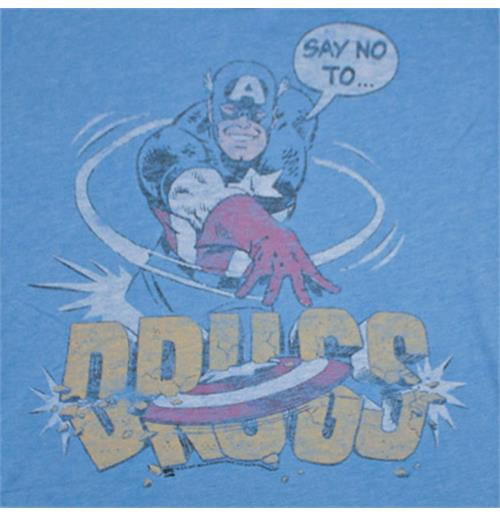 CAPTAIN AMERICA Say No To Drugs Junk Food Tee Shirt
