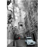Paris Red Girl Blue Car Maxi Poster