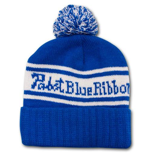 48194799220 Buy Pabst Blue Ribbon PBR Blue White Knit Pompom Winter Beanie Hat