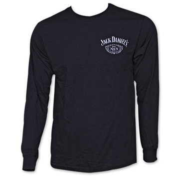 Jack Daniel's Classic Label Long Sleeve Black Graphic Tee Shirt