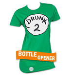 Drunk 2 Bottle Opener Womens Green Tee Shirt